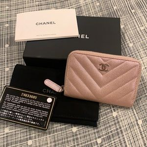 Auth Chanel 17B rose gold credit card zippy wallet